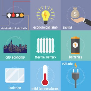 Color icons electricity, saving, temperature and city
