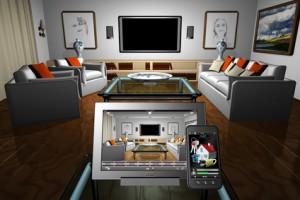 Home Domotica_001. Tablet e Smartphone con applicazioni di gestione domotica appoggiate su tavolo in salotto all'interno di una casa.